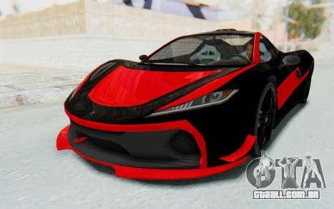 GTA 5 Progen T20 Devil PJ para vista lateral GTA San Andreas