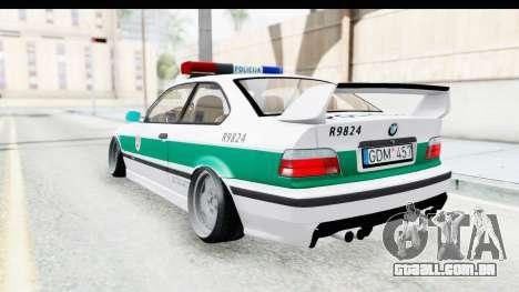 BMW M3 E36 Stance Lithuanian Police para GTA San Andreas traseira esquerda vista