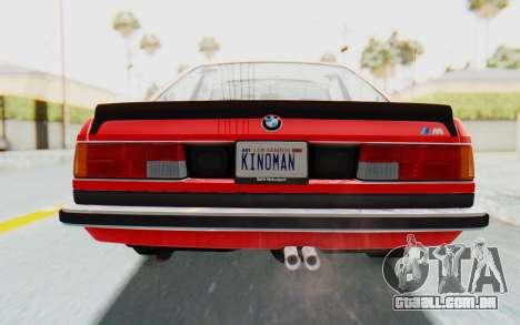 BMW M635 CSi (E24) 1984 IVF PJ2 para GTA San Andreas vista superior