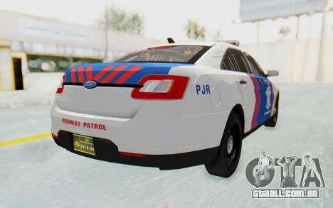 Ford Taurus Indonesian Traffic Police para GTA San Andreas esquerda vista