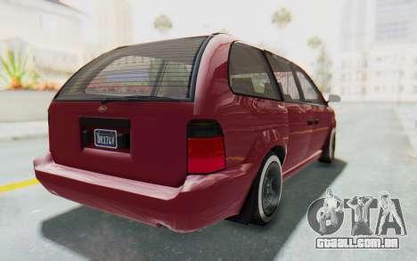 GTA 5 Vapid Minivan Custom without Hydro para GTA San Andreas esquerda vista