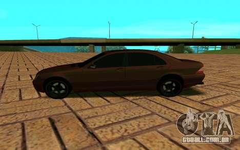 Mercedes S600 W220 JoRick Revazov para GTA San Andreas esquerda vista