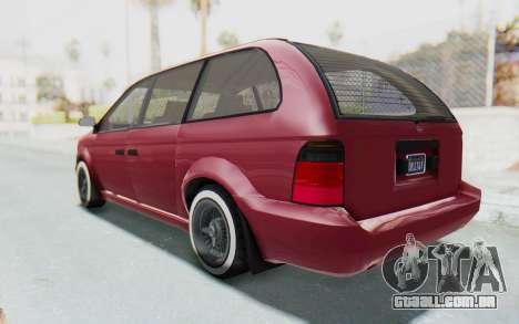 GTA 5 Vapid Minivan Custom without Hydro para GTA San Andreas traseira esquerda vista