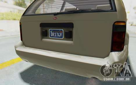 GTA 5 Vapid Minivan Custom without Hydro IVF para GTA San Andreas interior