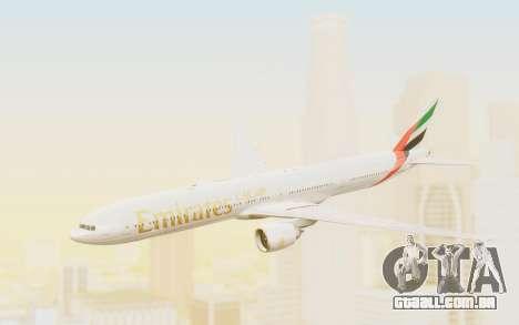 Boeing 777-300ER Emirates para GTA San Andreas traseira esquerda vista