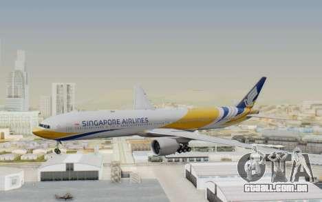 Boeing 777-300ER Singapore Airlines v2 para GTA San Andreas traseira esquerda vista