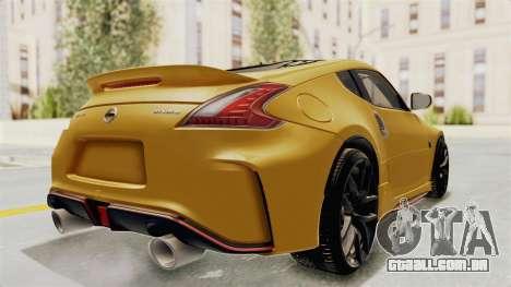 Nissan 370Z Nismo Z34 para GTA San Andreas traseira esquerda vista