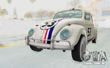 Volkswagen Beetle 1200 Type 1 1963 Herbie para GTA San Andreas vista direita