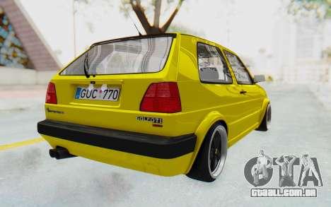 Volkswagen Golf Mk2 Lemon para GTA San Andreas traseira esquerda vista