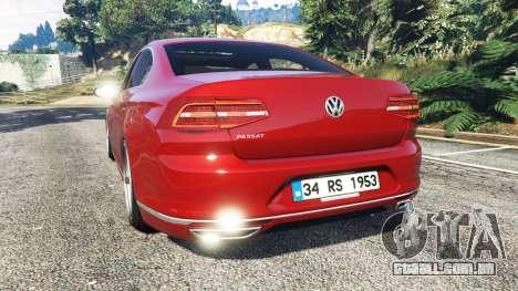 GTA 5 Volkswagen Passat Highline B8 2016 Stanced traseira vista lateral esquerda