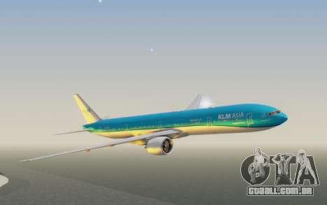 Boeing 777-300ER KLM - Royal Dutch Airlines v2 para GTA San Andreas traseira esquerda vista
