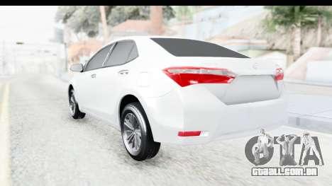 Toyota Corolla 2015 para GTA San Andreas esquerda vista