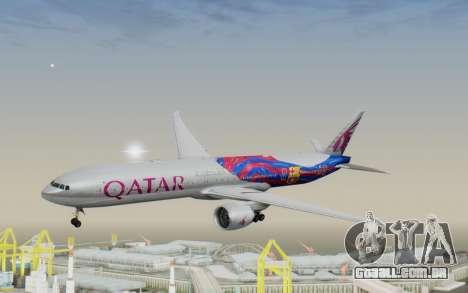 Boeing 777-300ER Qatar Airways v2 para GTA San Andreas traseira esquerda vista