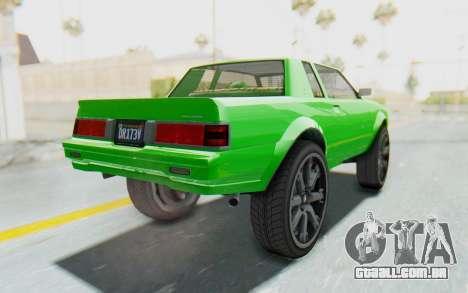 GTA 5 Willard Faction Custom Donk v3 para GTA San Andreas vista direita