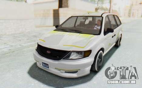 GTA 5 Vapid Minivan Custom without Hydro para GTA San Andreas vista inferior