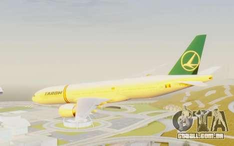 Boeing 777-200 TAROM Romania para GTA San Andreas vista direita