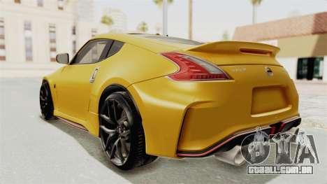Nissan 370Z Nismo Z34 para GTA San Andreas esquerda vista