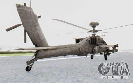 AH-64 Apache Desert para GTA San Andreas traseira esquerda vista