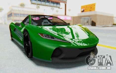 GTA 5 Progen T20 Devil PJ para GTA San Andreas traseira esquerda vista