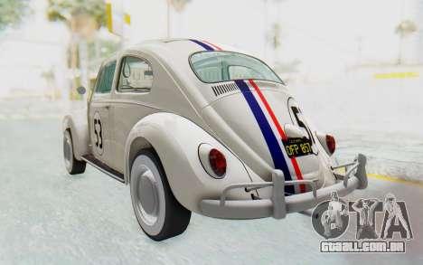 Volkswagen Beetle 1200 Type 1 1963 Herbie para GTA San Andreas traseira esquerda vista