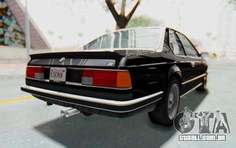 BMW M635 CSi (E24) 1984 IVF PJ3 para GTA San Andreas traseira esquerda vista