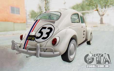 Volkswagen Beetle 1200 Type 1 1963 Herbie para GTA San Andreas esquerda vista