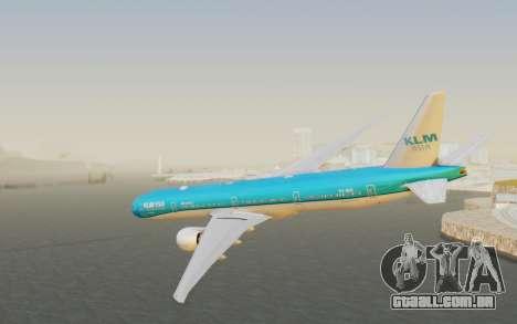 Boeing 777-300ER KLM - Royal Dutch Airlines v2 para GTA San Andreas esquerda vista