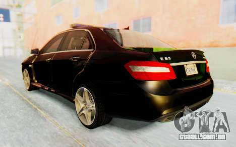 Mercedes-Benz E63 German Police Green para GTA San Andreas esquerda vista