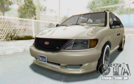 GTA 5 Vapid Minivan Custom without Hydro IVF para GTA San Andreas traseira esquerda vista