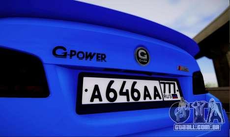 BMW M5 F10 G-Power para GTA San Andreas vista direita