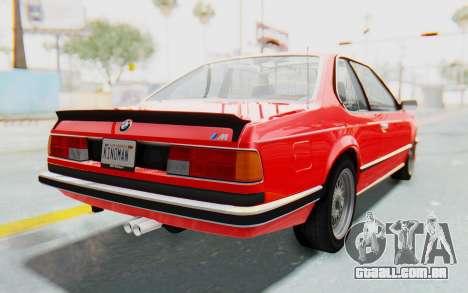 BMW M635 CSi (E24) 1984 IVF PJ2 para GTA San Andreas traseira esquerda vista
