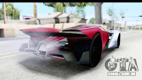 GTA 5 Grotti X80 Proto SA Lights para GTA San Andreas traseira esquerda vista