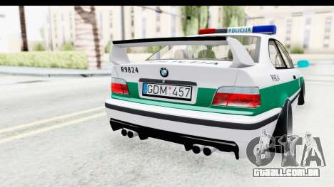 BMW M3 E36 Stance Lithuanian Police para vista lateral GTA San Andreas
