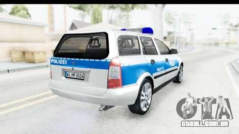 Opel Astra G Variant Polizei Hessen para GTA San Andreas traseira esquerda vista