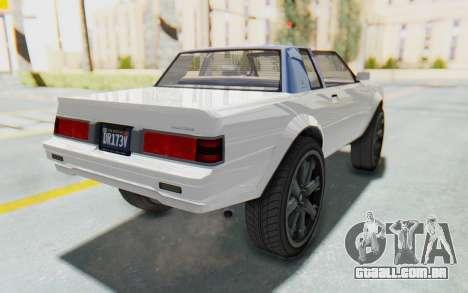 GTA 5 Willard Faction Custom Donk v2 para GTA San Andreas traseira esquerda vista