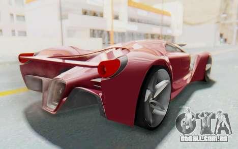 Ferrari F80 Concept para GTA San Andreas traseira esquerda vista