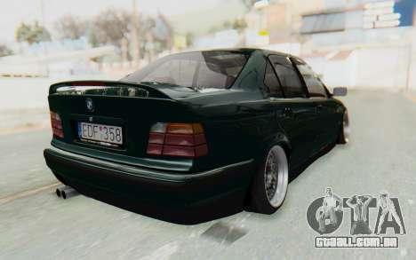 BMW 325tds E36 para GTA San Andreas traseira esquerda vista