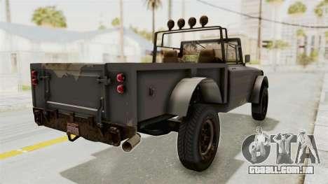 GTA 5 Canis Bodhi Trevor para GTA San Andreas traseira esquerda vista