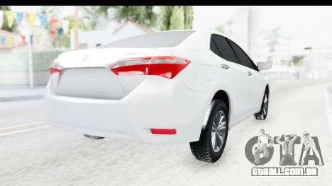Toyota Corolla 2015 para GTA San Andreas traseira esquerda vista