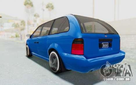 GTA 5 Vapid Minivan Custom para GTA San Andreas esquerda vista