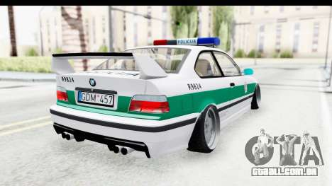 BMW M3 E36 Stance Lithuanian Police para GTA San Andreas esquerda vista
