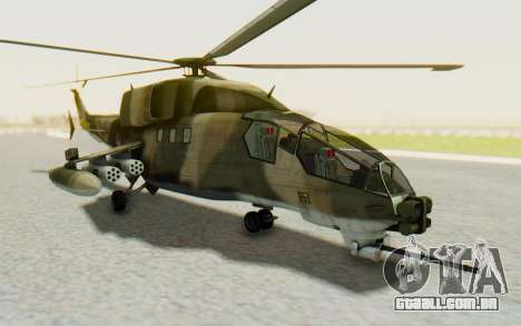 WZ-19 Attack Helicopter Asian para GTA San Andreas traseira esquerda vista
