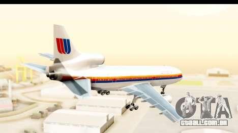 Lockheed L-1011-100 TriStar United Airlines para GTA San Andreas vista direita