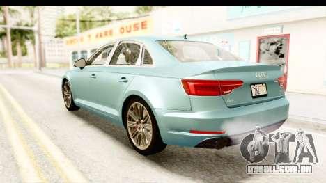 Audi A4 TFSI Quattro 2017 para GTA San Andreas esquerda vista