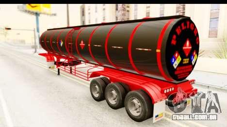 Trailer Fuel para GTA San Andreas traseira esquerda vista