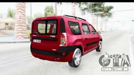 Dacia Logan MCV para GTA San Andreas esquerda vista