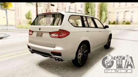 GTA 5 Benefactor XLS SA Style para GTA San Andreas traseira esquerda vista