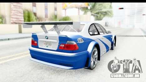 NFS: MW - BMW M3 GTR para GTA San Andreas esquerda vista