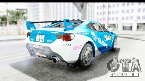 Subaru BRZ Rally para GTA San Andreas vista direita