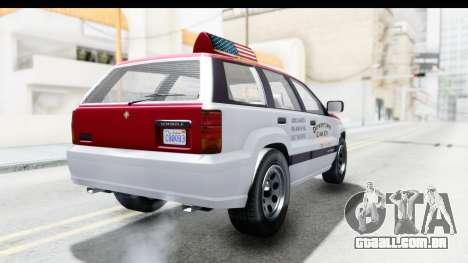 GTA 5 Canis Seminole Downtown Cab Co. Taxi para GTA San Andreas traseira esquerda vista